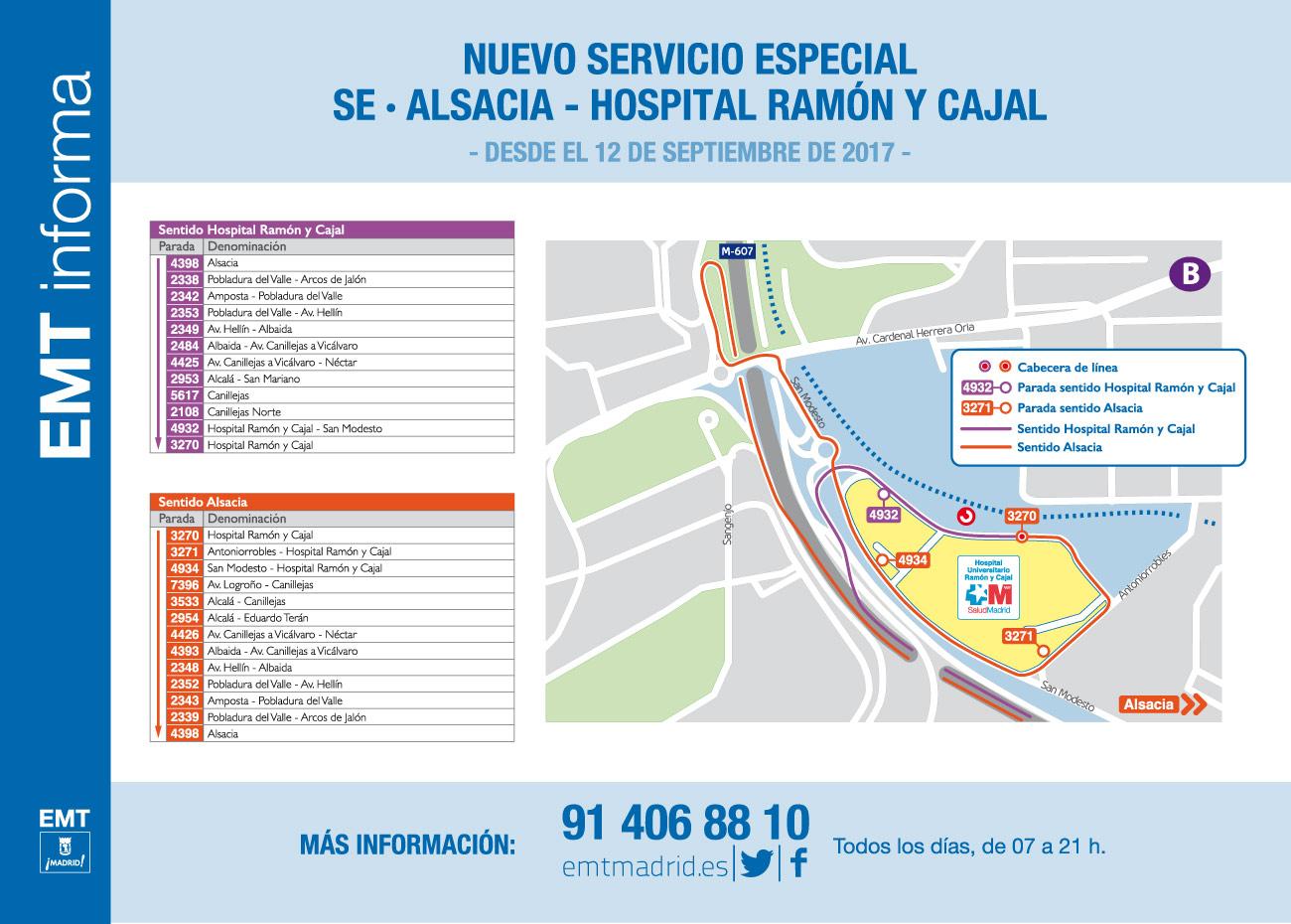 EMT Nuevo Servicio: Alsacia - Ramón y Cajal