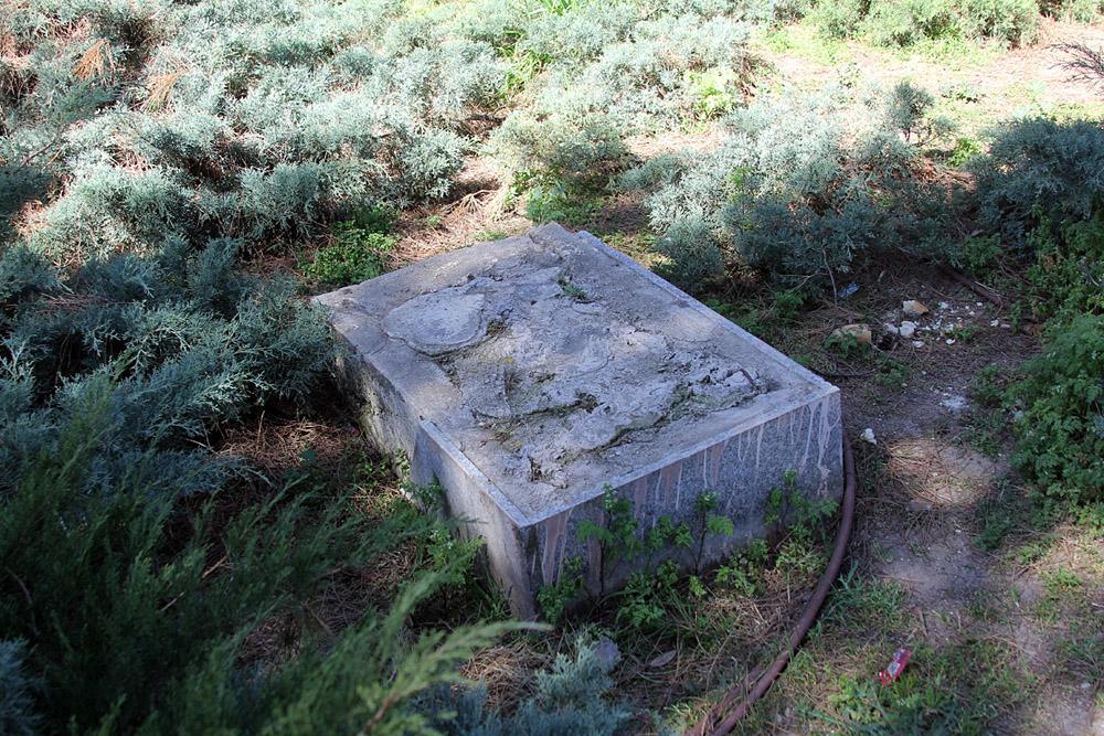 El pedestal que soportaba la placa se encuentra en la cabecera del parque