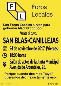 cartel Foro Local de San Blas-Canillejas 24 NOVIEMBRE