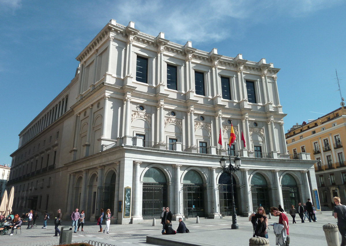 View of Teatro Real (opera house and concert hall) in Madrid (Spain) from the north-west angle. Building from 1850.