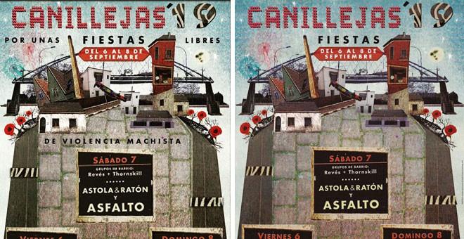 """El cartel original, que incluía la frase """"Por unas fiestas libres de violencia machista"""", y el modificado."""
