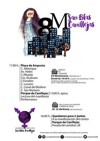 El día 8 de marzo, con motivo del Día Internacional de la Mujer, la Asamblea Feminista San Blas-Canillejas ha convocado una manifestación.